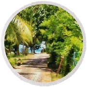 Rich Green Path Round Beach Towel