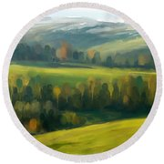 Round Beach Towel featuring the painting Rich Landscape by Ivana Westin