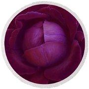 Rich Purple Lettuce Rose Round Beach Towel