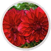 Round Beach Towel featuring the photograph Rich Red Dahlias By Kaye Menner by Kaye Menner
