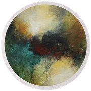 Rich Tones Abstract Painting Round Beach Towel