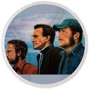 Jaws With Richard Dreyfuss, Roy Scheider And Robert Shaw Round Beach Towel