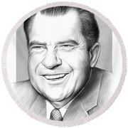 Richard Nixon Round Beach Towel