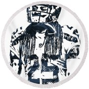 Richard Sherman Seattle Seahawks Pixel Art 4 Round Beach Towel by Joe Hamilton