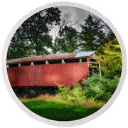 Round Beach Towel featuring the photograph Richards Covered Bridge by Marvin Spates