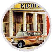 Richfield Gas Round Beach Towel by Steve McKinzie