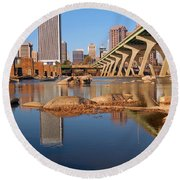 Round Beach Towel featuring the photograph Richmond And The James River by James Kirkikis