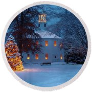 Richmond Vermont Round Church At Christmas Round Beach Towel