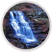 Round Beach Towel featuring the photograph Ricketts Glen Waterfall 3941  by David Dehner