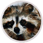 Rickey Raccoon Round Beach Towel by Barbie Batson
