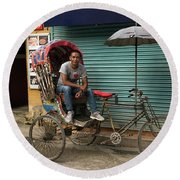 Rickshaw Driver Waiting For His Next Client In Narrow Streets Of Nepal Round Beach Towel