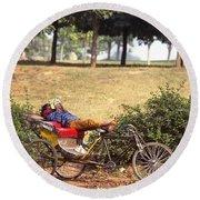 Rickshaw Rider Relaxing Round Beach Towel