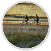 Ride At Dawn Round Beach Towel