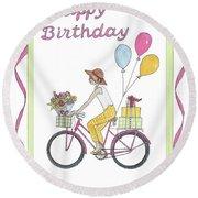 Ride In Style - Happy Birthday Round Beach Towel