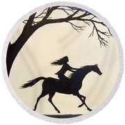 Ride Like The Wind  - Silhouette Girl Riding Horse Round Beach Towel