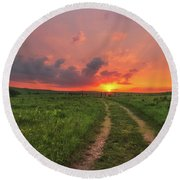 Round Beach Towel featuring the photograph Ride Off Into The Sunset by Darren White