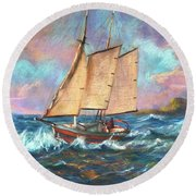 Ride The Wind And Waves Round Beach Towel
