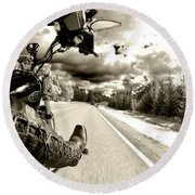 Ride To Live Round Beach Towel