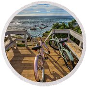 Ride With Me To The Beach Round Beach Towel