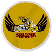 Ride With Passion Cafe Racer Round Beach Towel