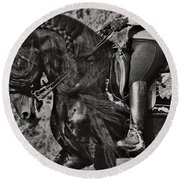 Round Beach Towel featuring the photograph Rider And Steed Dance D6032 by Wes and Dotty Weber
