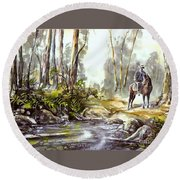 Rider By The Creek Round Beach Towel