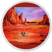 Riders In The Valley Of The Giants Round Beach Towel