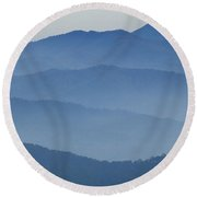 Ridgelines Great Smoky Mountains Round Beach Towel