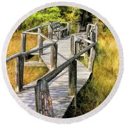 Ridges Sanctuary Crossing Round Beach Towel by Christopher Arndt