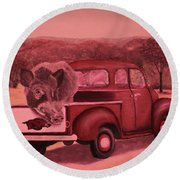 Ridin' With Razorbacks 3 Round Beach Towel by Belinda Nagy