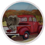 Ridin' With Razorbacks Round Beach Towel by Belinda Nagy