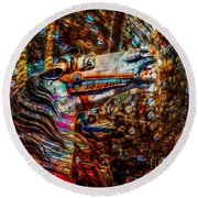 Round Beach Towel featuring the photograph Riding A Carousel In My Colorful Dream by Michael Arend