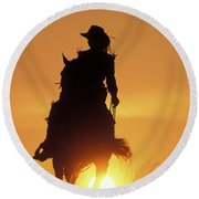 Riding Cowgirl Sunset Round Beach Towel