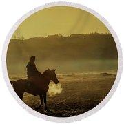 Riding His Horse Round Beach Towel