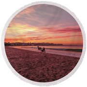 Round Beach Towel featuring the photograph Riding Home by Roy McPeak