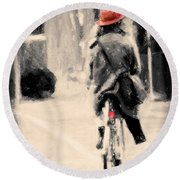 Riding My Bicycle In A Red Hat Round Beach Towel