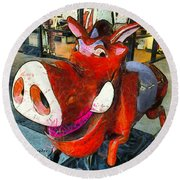 Round Beach Towel featuring the photograph Riding Pig Of Pismo Beach by Floyd Snyder
