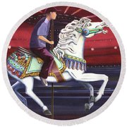Riding The Carousel Round Beach Towel