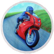 Riding The Highlands - Ducati 999 Round Beach Towel