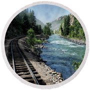 Round Beach Towel featuring the photograph Riding The Rails by Jim Hill