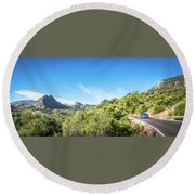 Riding The Roads Of Andalucia Round Beach Towel