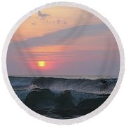 Round Beach Towel featuring the photograph Riding The Second Wave by Robert Banach