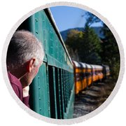 Riding The Train 8x10 Round Beach Towel