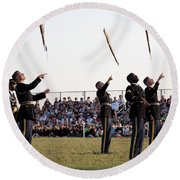 Rifle Toss By The Old Guard At The Twilight Tattoo  In Washington Dc Round Beach Towel