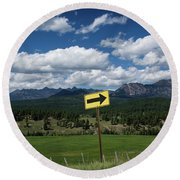 Right This Way Round Beach Towel by Jason Coward