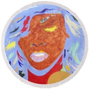 Rihanna Loud Round Beach Towel by Stormm Bradshaw