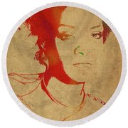 Rihanna Watercolor Portrait Round Beach Towel