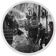 Riis: Bandits Roost, 1887 Round Beach Towel