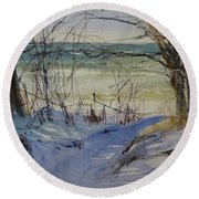 Round Beach Towel featuring the painting Riley Beach December by Sandra Strohschein