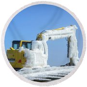 Round Beach Towel featuring the photograph Rime Ice by Alana Ranney